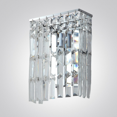 Bring Touch of Elegance with Wall Light Fixture Featuring Hanging Crystals and Chrome Finish.