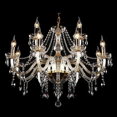 Classic and Elegant Candle Style  8 Lights Chandelier Hanging Smoky Crystals