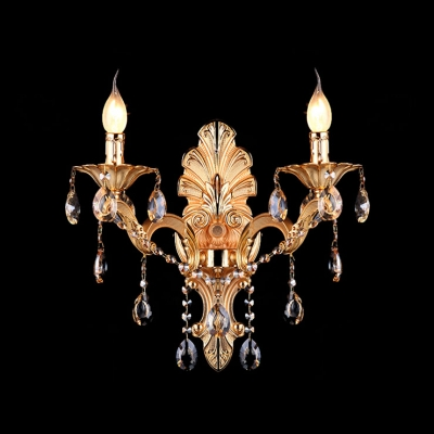 Contemporary Beautiful Two-light Crystal-accented Wall Sconce with Gold Finish and Delicate Canopy