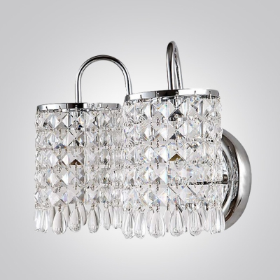Contemporary Wall Sconce Features Shining Crystals Matched with Chrome FInish Details