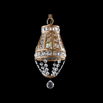 Delicate Antique Brass Finish and Graceful Crystal Beads Add Charm to Splendid Mini Pendant Light