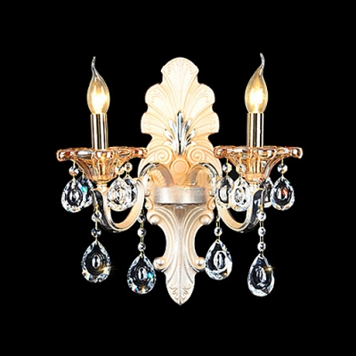 Delicate Crystal Accents and Beige Fabric Shade Creates Striking Wall Sconce
