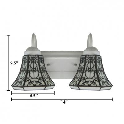 Engraving Tiffany Two-light Bathroom Lighting Featuring White Finish Long Bar