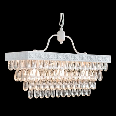 European Style 3 Lights Island Pendant Lighting Composed With White Finish Metal Frame And Crystal