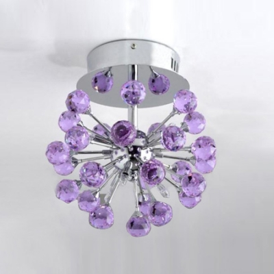 Finely Hand Cut Purple Small Crystal Balls Romantic 6-Light Semi Flush Mount