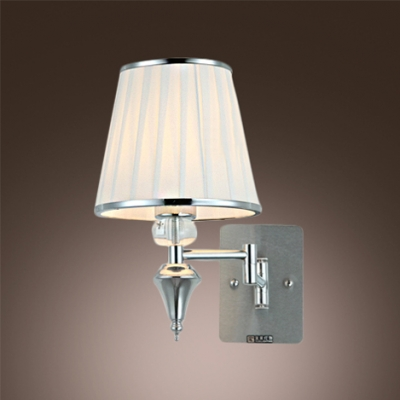 Glamorous Single Light Wall Sconce Features Polished Chrome Finish And White Fabric Shade