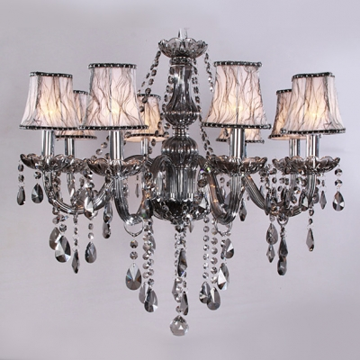 Glittering Smoky Crystal Strands and Droplets Waterfall String Fabric Shaded Chandelier