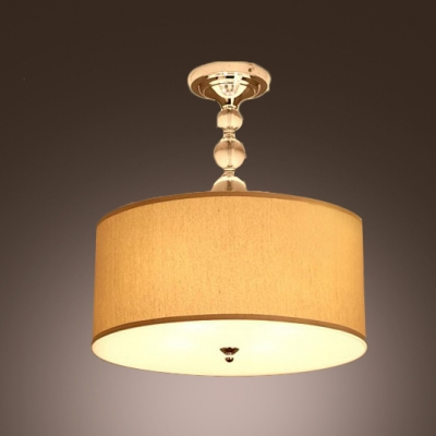 Gracefully Linen Drum Shade And Glittering Crystal Balls Semi Flush Mount  Lighting