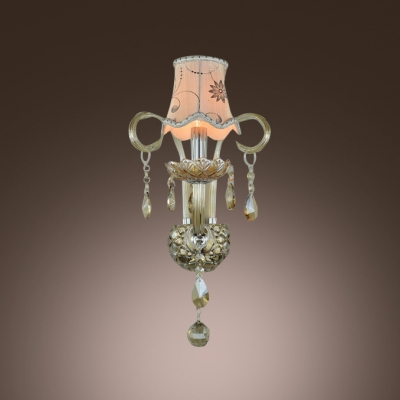 Grand Bold Single Wall Sconce With White Fabric Shade Makes Stunning Statement and Elegant Presence