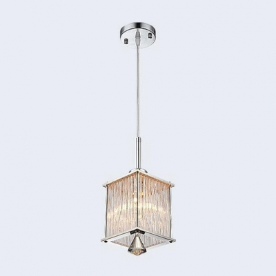 Grand Modern Multi-Light Pendant Adorned with Three Delicate Rectangular Shades Hanging Beautiful Crystal Teardrops