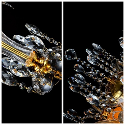 Luxurious Gold Finished Handcut Crystal Pendaloques and Chains Candle Style Chandelier