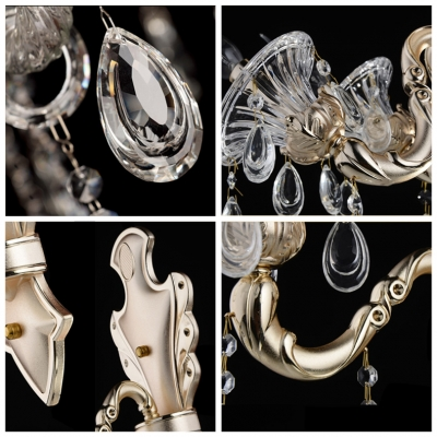 Luxury Shimmering Two Light Clear Phoenix Feather Crystal Wall Sconce with Graceful Strolling Arm in Zin Alloy