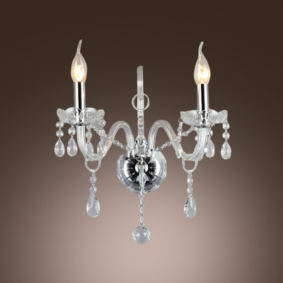 Magnificent Two Light and Crystal Creates Stunning Wall Sconce with Ivory Fabric Bell Shade