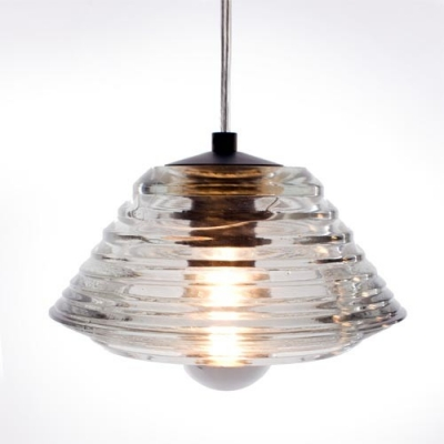 "Pressed Glass Cylinder Shaded Designer Pendant Light In 8.8""Wide Clear And Bright"