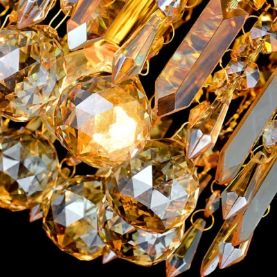 Round Golden Finish Warm and Lavish Crystal Prisms and Drops Flush Mount Lighting