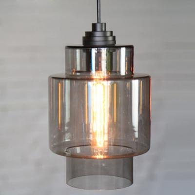 Silver/ Orange Industrial Colored LOFT Glass Pendant Light