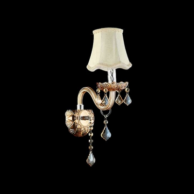 Single Light Wall Sconce Completed with Fabric Hardback Shade and Crystal Drops