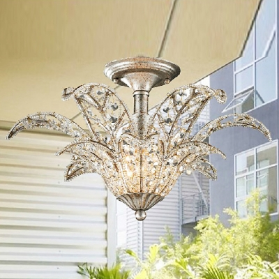 Spectacular Semi Flush Ceiling Light Accented With Clear Crystals And  Graceful Big Leaves