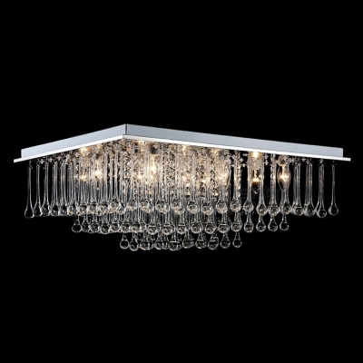 "Square Crystal Rainfall Chrome Finished Contemporary Style 15.7"" Wide Flush Mount"