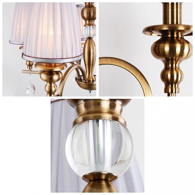 Traditional Crystal Droplets and Sphere Elegant Brass Finished Chandelier