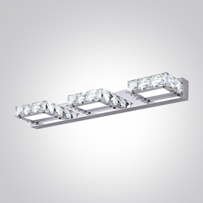 Transform Your Bath With Sparkling Three-light Wall Fixture Adorned with Crystral Beads