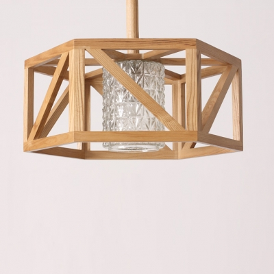 """Wide Round Drum Caged And Inner Glass Shaded Large Pendant Light 17.7"""""""