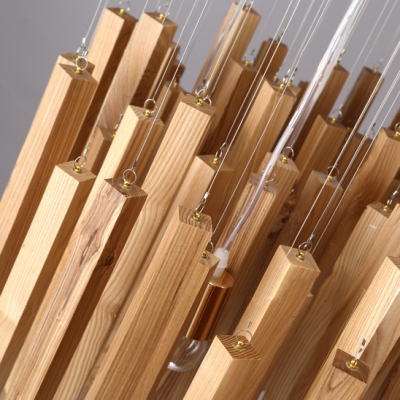 Round Wooden Canopy And Cluster Of Wooden Sticks Designer