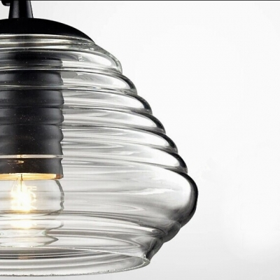 Glass Pendant Light In Short Size, Amber-colored
