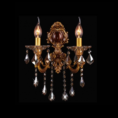 Antique Gold Two Light Delicate Scupltural Crystal Wall Sconce
