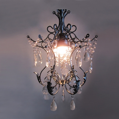 Antique Wrought Iron Style Chandelier with 12.5 Inch Width Shade Crystal Pearl Accent