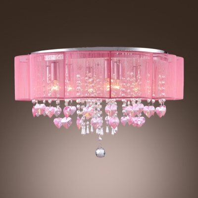 Beautiful And Pink Colored Flush Mount Lights Shine With Bright Crystals