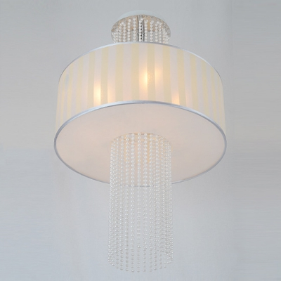 Beautiful Strands of Crystal Beads Embellished Three Lights Modern Semi Flushmount Ceiling Light