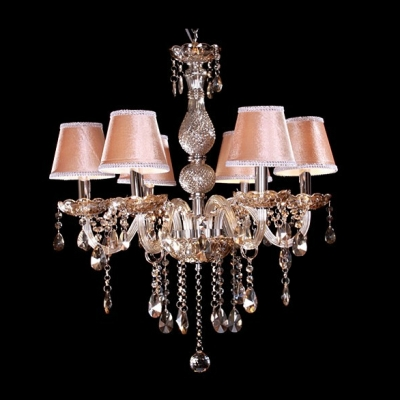 Brilliant Fabric Shade Bright Hand Cut Crystal Droplets Dining Room Chandelier