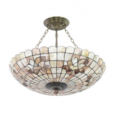 Beige Floral/Butterfly Motif Circular Grid Bowl Shade Tiffany Pendant Light 19.69