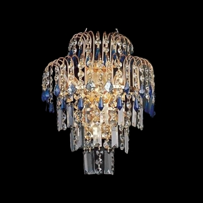 Charming Three Light Crystal Wall Sconce with Intricate Decorative Details