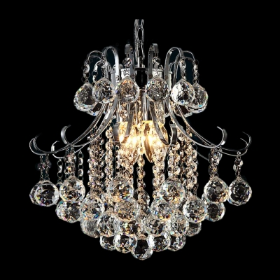 Clear Crystal Spheres Hanging 4-Light 15.7