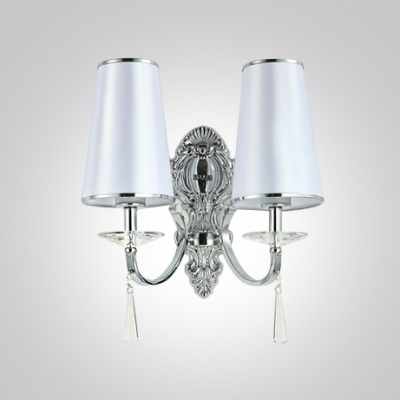 Decorative Crystal Bobeche and Graceful Scrolls Add Glamour to Two Light Wall Sconce