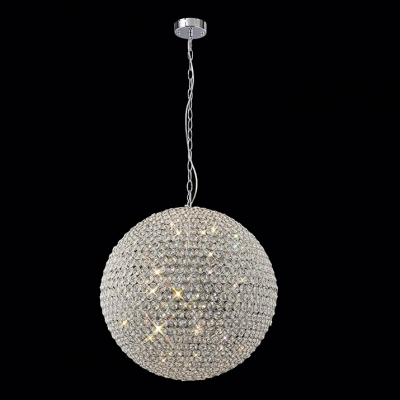 Elegant Contemporary Chandelier Featuring Shining Crystal Sphere and Sleek Chrome Finish for Glamorous Style