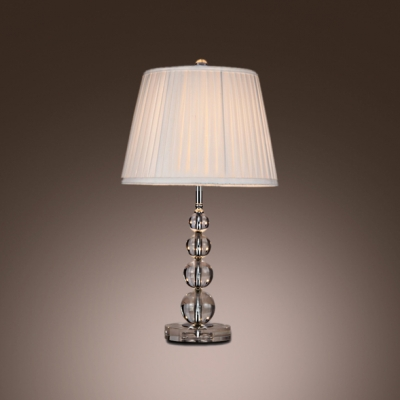 Exceptionnel Elegant Table Lamp Features Chic Stacked Crystal Ball And Vibrant Wine Red  Lamp Shade