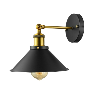Industrial Wrought Iron Single Light Conical Shade Wall Sconce in Black for Barn Farmhouse Porch