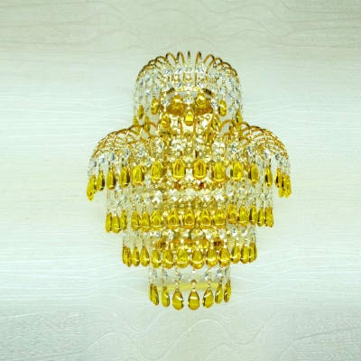 Enchanting Gold Finish  and Beautiful Strands of Crystal Beads Add Luxury to Delightful Sparkling Wall Washe