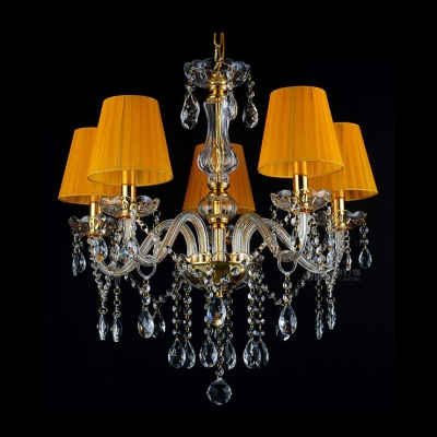 Five Lights Elegant Crystal Droplets Playful Orange Empire Shaded Bedroom Chandelier