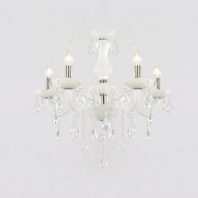 Five lights scrolling glass arms chrome finished modern chandelier aloadofball Images