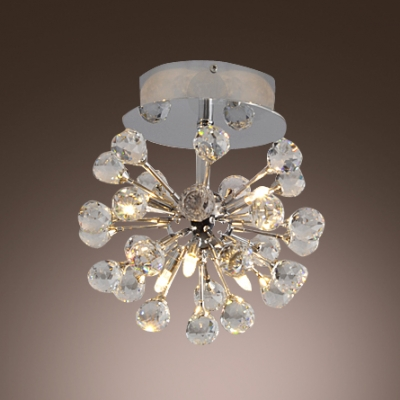 Glimmering and Striking Flushmount Ceiling Light Add Radiance to Any Space with Dazzling Clear Crystals