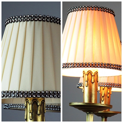 Glittering Clear Crystal Droplets White Pleated Bell Fabric Shade Five Light Chandelier