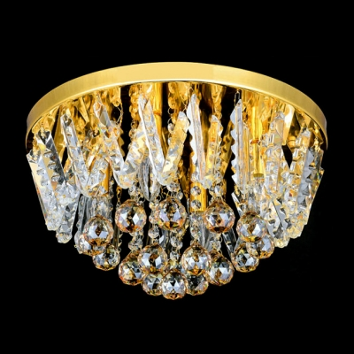 Golden Finish and Clear Crystal Beaded Strands Cognac Crystal Balls Accented Round Flush Mount