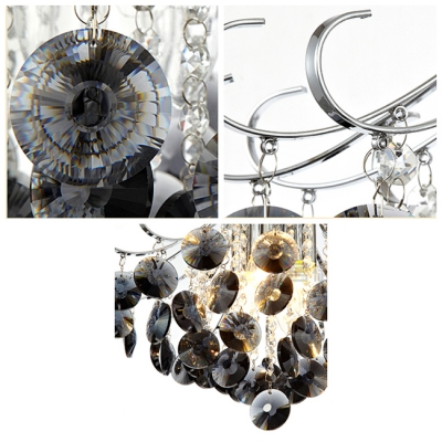 Graceful Black Crystal Beads and Clear Crystal Balls Waterfall Chrome Finished Frame Chandelier
