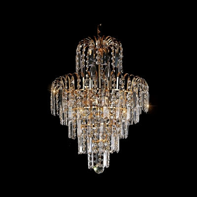 Grand Ceiling Fixture Offer Plenty of Sparkle with Gold Finish Frame and Gleaming Crystals
