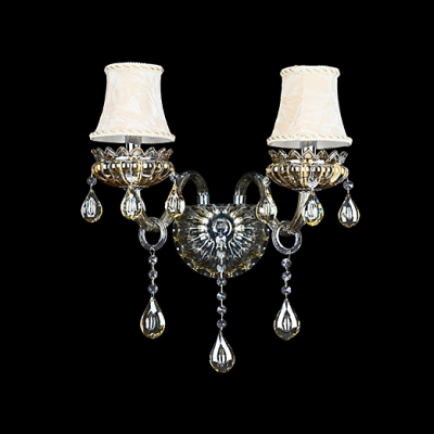 Grand Wall Sconce Completes with Beige Fabric Shades and Beautiful Crystal Drops