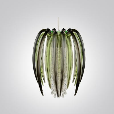 Lovely and Chic Crystal Strands Waterfall Pendant Lights with Little Green Colored Floral Shade